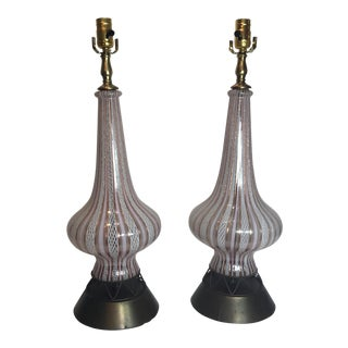 Murano Glass Table Lamps - a Pair