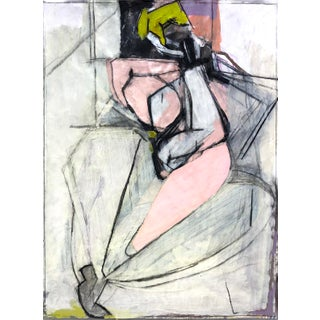 Contemporary Cubist Style Figurative Mixed-Media Painting For Sale