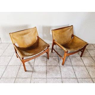 1960s Vintage Illum Wikkelso for Mikael Laursen Leather Ling Chairs - a Pair Preview