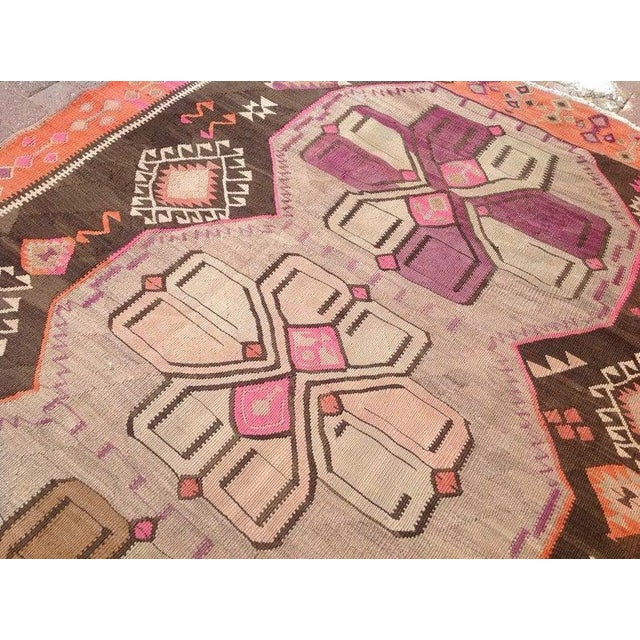 "1960's Vintage Turkish Kilim Rug-5'8'x15"" For Sale In Raleigh - Image 6 of 9"