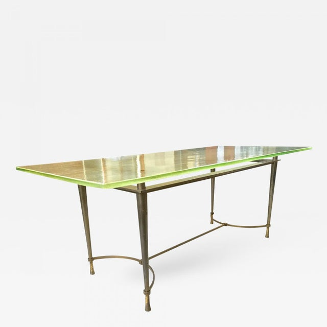 Bauhaus Jacques Quinet Unique Superb Design Dining Table With Sand Glass Top For Sale - Image 3 of 3