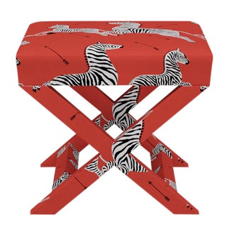 Scalamandre X Bench in Coral Zebra For Sale