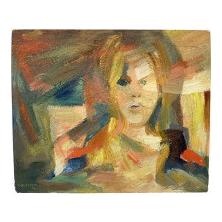 1967 Abstract Portrait Oil Painting For Sale