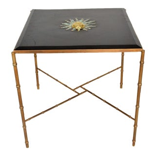 Pepe Mendoza Malachite Sun God on Square Brass Bamboo Table For Sale