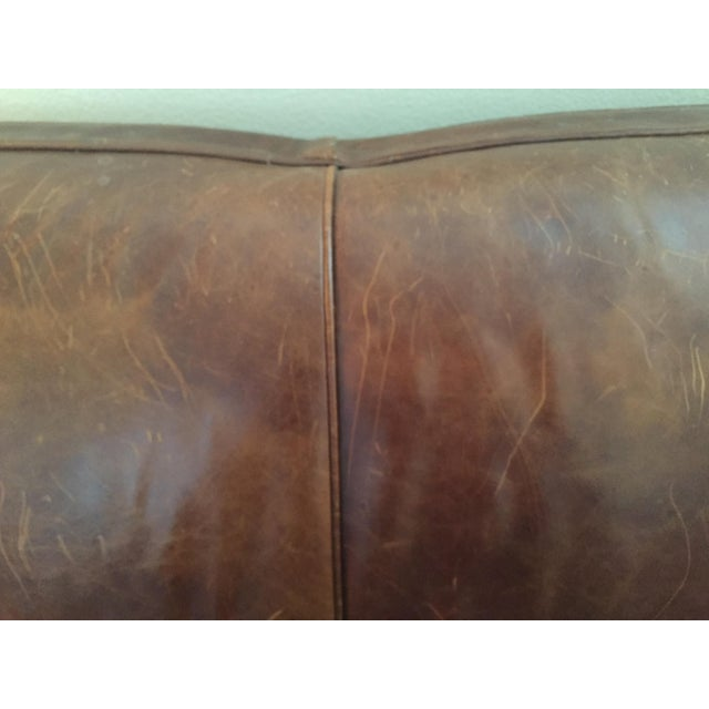 Crate & Barrel Leather Club Sleeper Sofa - Image 4 of 10