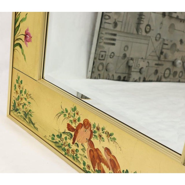 Reverse Painted Gold Leaf Rectangular Frame Decorative Mirro For Sale - Image 9 of 13