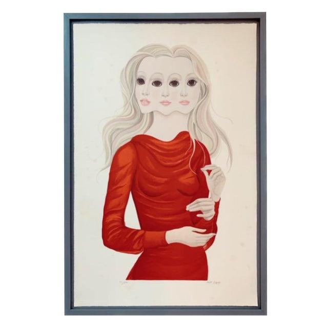 1976 Margaret Keane Signed Lithograph Portrait Print For Sale