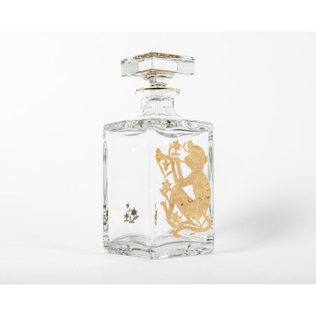 Mid 20th Century European Crystal Decanter with Gold Monkey Design For Sale - Image 5 of 5