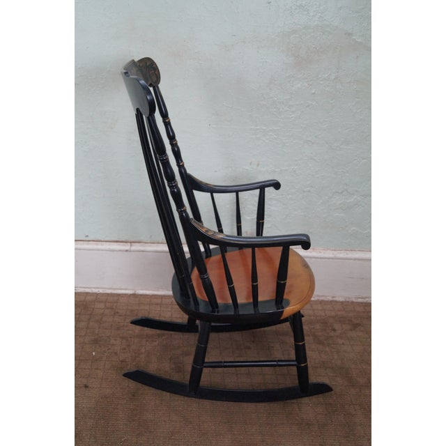 Hitchcock Black Painted Stenciled Rocking Chair - Image 3 of 10