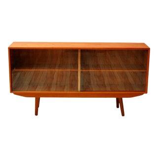 1960s Danish Modern Teak Cabinet With Sliding Glass Doors For Sale