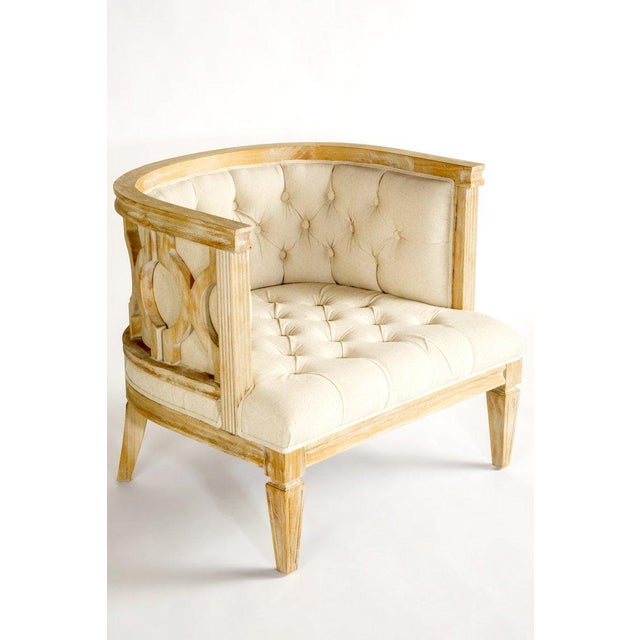 """This is a new Lily Barrel accent chair in beige upholstery. Only 1 available. Materials: cotton, wood Measurements: 31"""" w..."""