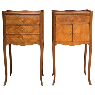 Pair of French Marquetry Walnut Bedside Matching Tables With Drawers and Door For Sale