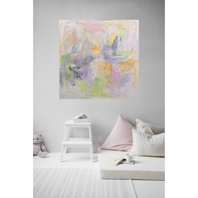 """White """"Sydney Sunrise"""" by Trixie Pitts Large Abstract Expressionist Oil Painting For Sale - Image 8 of 13"""
