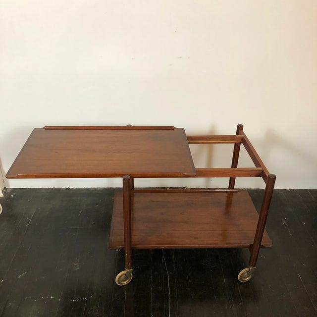 Brown 1960s Danish Teak Expanding Server/Bar Cart For Sale - Image 8 of 13