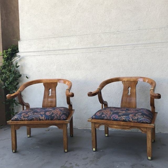 Mid-Century Regency Horseshoe Chairs - A Pair - Image 7 of 7