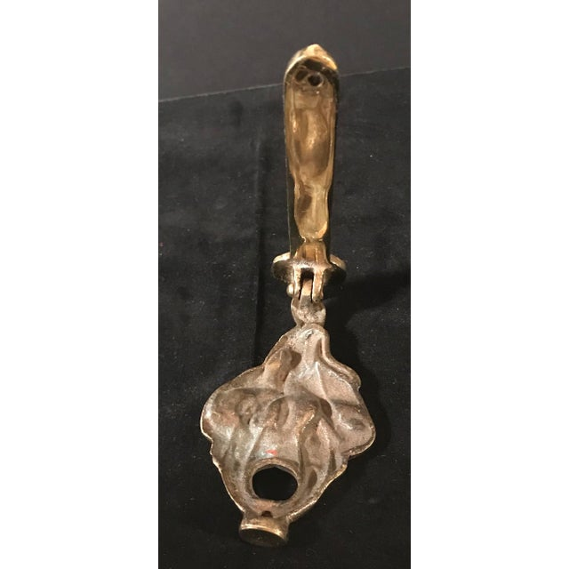 Gold Vintage Brass English Female Figure Door Knocker For Sale - Image 8 of 10