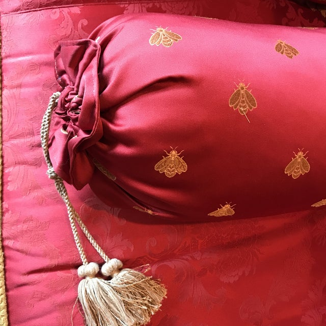 Custom Made Red & Gold Sofa For Sale - Image 10 of 12