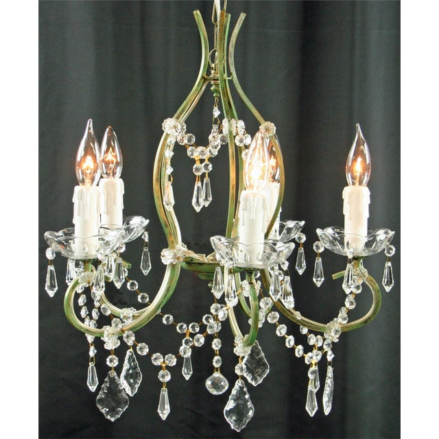 Overall measurements (inches): 19.50H x 17W x 17D. From Ceiling 21H. This reproduction Rococo chandelier with an antique...