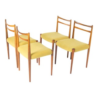 1960s Danish Modern Yellow Fabric Rosewood Chairs - Set of 4