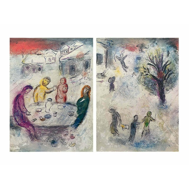 """1977 """"The Meal at Dryas's House, Daphnis & Chloe"""" Diptych Limited Edition Lithograph After Marc Chagall For Sale"""