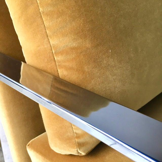 Yellow Chromium Steel Framed Velvet Armchairs 1970s For Sale - Image 8 of 11