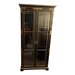 Kindel Curio Lighted Cabinet Black With Gold Hand Painting For Sale