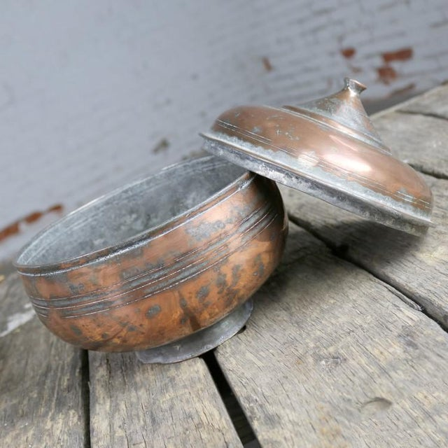 Antique Turkish Copper Medium Sized Footed Bowl With Lid Hand Forged Incised Tinned For Sale - Image 4 of 13