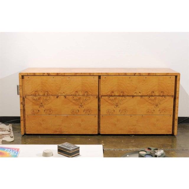 Milo Baughman Style Burl Wood Suite For Sale In Atlanta - Image 6 of 7
