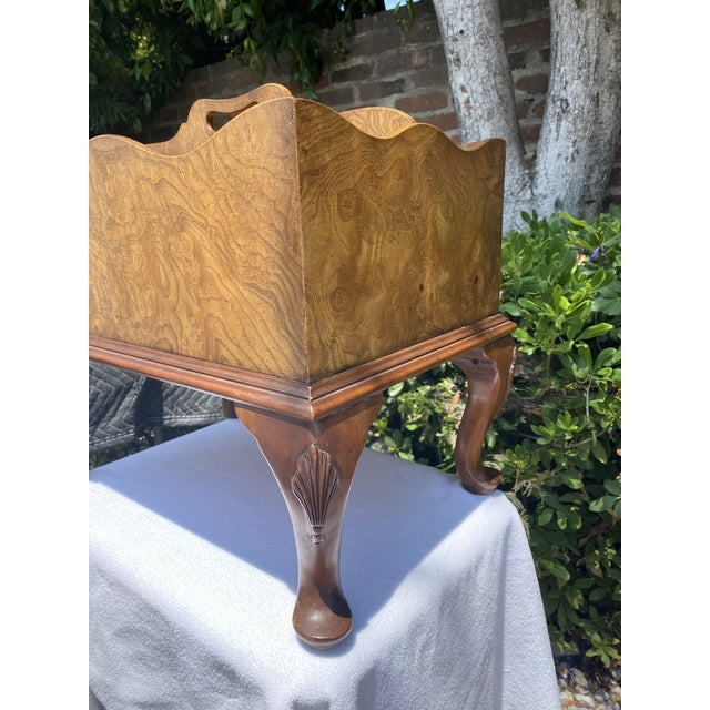 1980s 1980s Baker Furniture Queen Anne Burl Wood and Mahogany Magazine Rack For Sale - Image 5 of 13