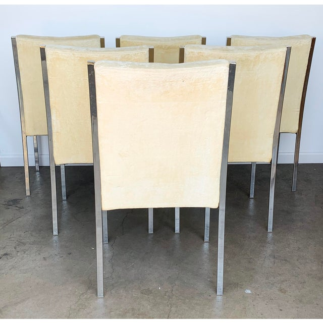 Metal Set of 6 Chrome Dining Chairs Attributed to Milo Baughman For Sale - Image 7 of 9