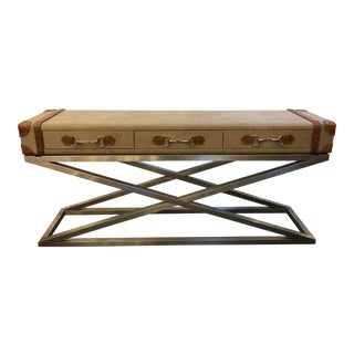 Large Luggage Style Console With Stainless Base For Sale