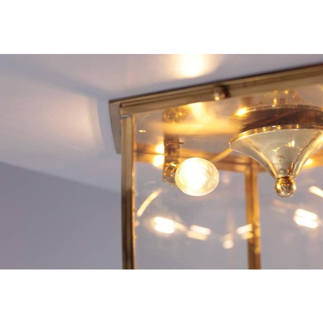 Mid-Century Modern Pair of Brass and Glass Flush Mounts or Light Fixture from a German Library For Sale - Image 3 of 5