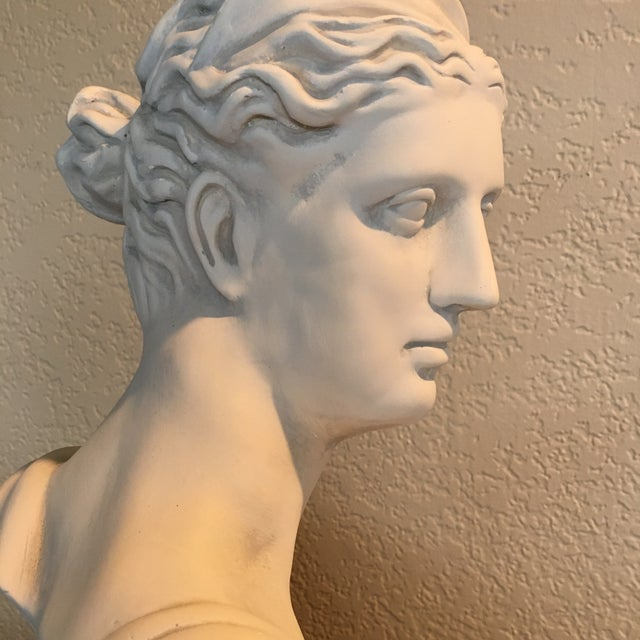 1980s Diana Goddess of the Hunt Large Scale Bust Sculpture For Sale - Image 9 of 10