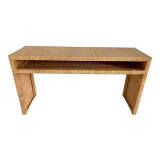 Late 20th Century Long Key Rattan Console Table For Sale