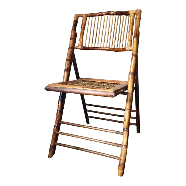 Vintage Tortoise Bamboo Folding Chair For Sale