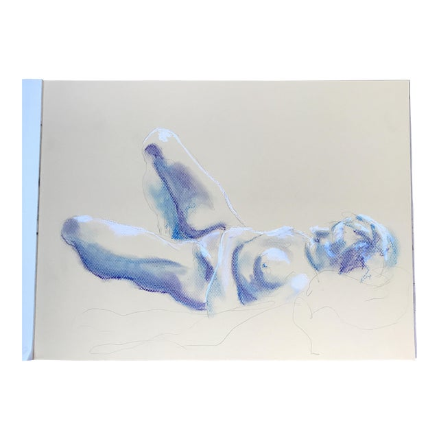 Nude Blue & White Drawing - Image 1 of 3