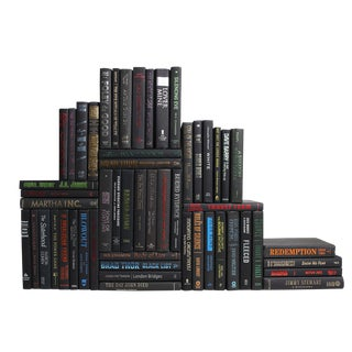 Modern Onyx & Metallic Book Wall, S/50 For Sale