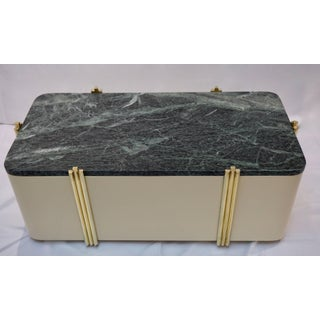 1970s Art Deco Green Marble and Cream White Lacquered Coffee Table or Bench Preview