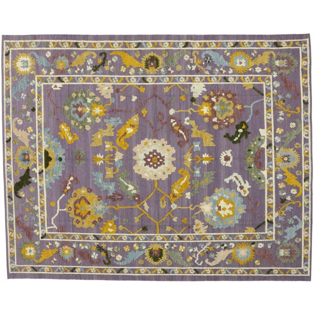 Geometric Oushak High and Low Texture Rug- 10′5″ × 13′2″ For Sale In Dallas - Image 6 of 10