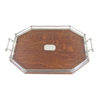 Late 19th Century English Sheffield Silver and Oak Serving Tray For Sale