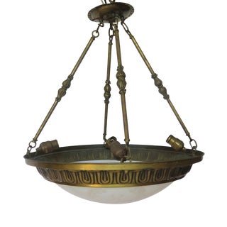 4 Light French Pendant With Frosted Convex Dome For Sale
