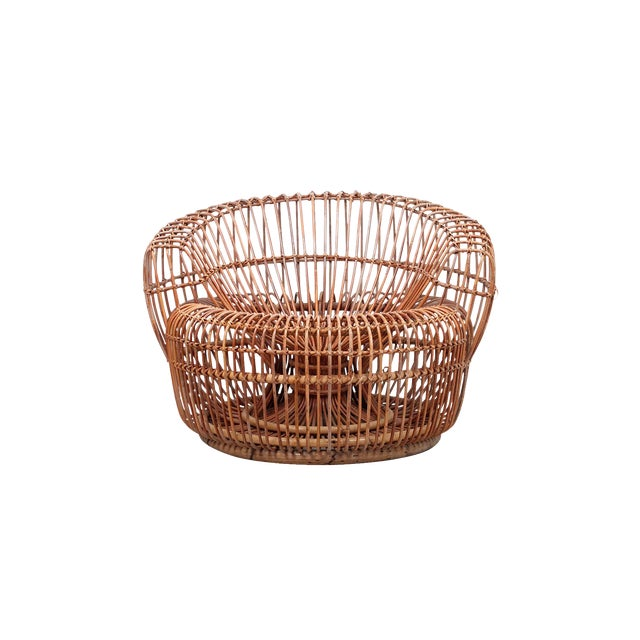 Franco Albini Bamboo Sculptural Lounge Chair For Sale