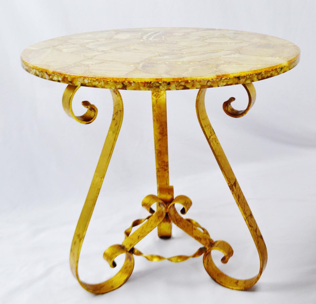 vintage enzo missoni stone & gold leaf coffee & end tables - set of