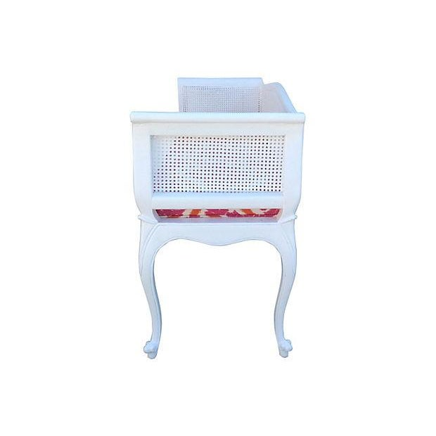 French Caned Satin White Settee - Image 5 of 7