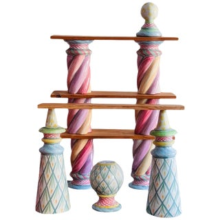 1983 Vintage Mackenzie Childs Postmodern Ceramic Majolica Modular Shelves - Set of 10 For Sale