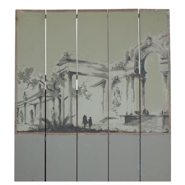 A handsome and large French wall paper screen in the neoclassical taste circa 1950.