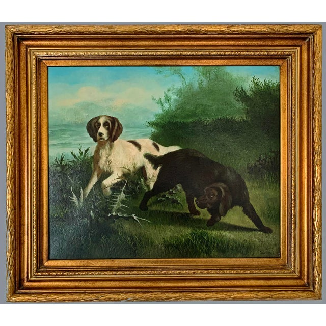 "Canvas Late 19th-Early 20th Century ""Hunting Dogs in Landscape"" American School Oil Painting on Canvas Signed For Sale - Image 7 of 7"