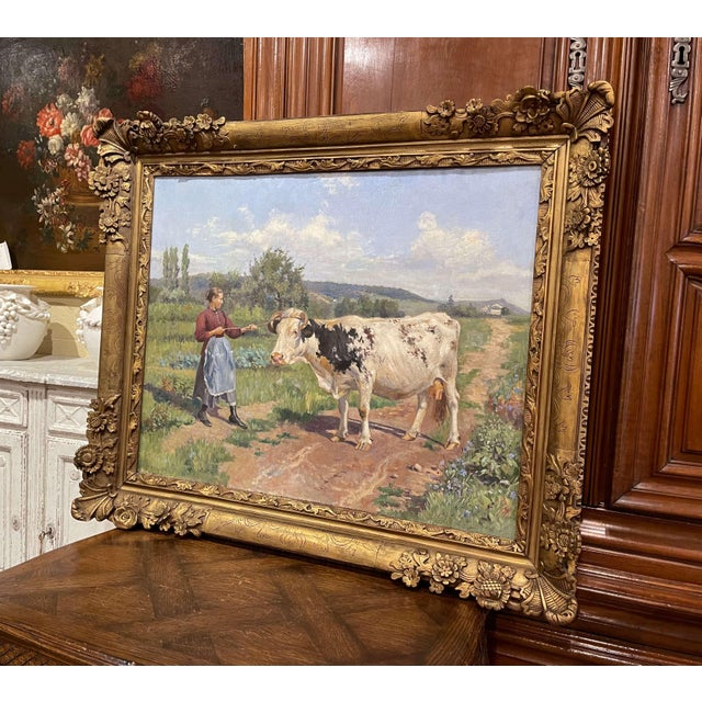 19th Century French Oil on Canvas Cow Painting in Carved Frame Signed Gregoire For Sale In Dallas - Image 6 of 13