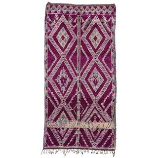 Vintage Magenta-Purple Beni M'Guild Moroccan Rug - 6'1x12'00 For Sale