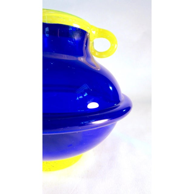 Vintage Signed Cobalt and Yellow Art Glass Amphora Vase For Sale In Los Angeles - Image 6 of 11